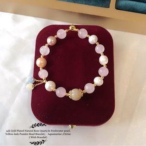 Natural Rose Quartz & Freshwater pearl
